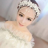 cheap Wedding Headpieces-Women's Lace Imitation Pearl Acrylic Silk Headpiece-Wedding Special Occasion Head Chain 1 Piece