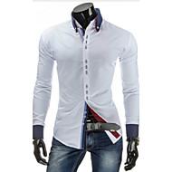 Bomull Tynn Kneppet krage Skjorte Herre - Ensfarget, Grunnleggende Navyblå L / Langermet