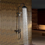 cheap Oil-rubbed Bronze Series-Oil-rubbed Bronze Wall Mounted Waterfall Rain + Handheld Shower Faucet