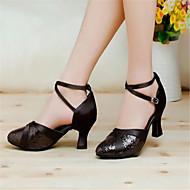 billige Moderne sko-Dame Moderne Sateng Sandaler Spenne Tykk hæl Svart Rød Sølv Gull Lilla Kan ikke spesialtilpasses