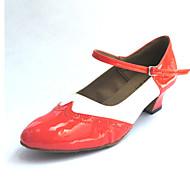 billige Men's Dance Shoes-Herre / Dame Swingsko Kunstlær Høye hæler Tykk hæl Kan spesialtilpasses Dansesko Svart og Rød / Blå / Oransje
