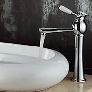 זול ברזים לחדר האמבטיה-עכשווי סט מרכזי ניתן לסיבוב שסתום קרמי חור אחד חור ידית אחת אחת כרום , חדר רחצה כיור ברז