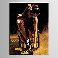 Pintados à mão PessoasModerno / Estilo Europeu 1 Painel Tela Pintura a Óleo For Decoração para casa