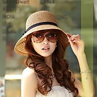 Per donna Vacanze Cappello di paglia / Cappello da sole Tinta unita / Rivetto / Beige / Marrone / Estate / Capello e berretto