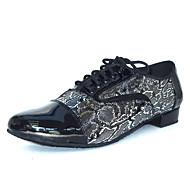 Men's Latin Salsa Ballroom Leatherette Sandal Heel Chunky Heel Black Customizable