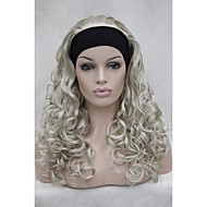 """New 3/4 Wig With Headband 24"""" Long Curly Women's Half Wig AB102"""