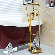 Antique Floor Mounted Handshower Included Floor Standing with  Ceramic Valve Two Handles Two Holes for  Ti-PVD , Bathtub Faucet