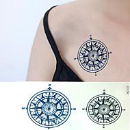 Χαμηλού Κόστους Τατουάζ, Τέχνη του Σώματος-1 - 6*10.5cm (2.36*4.13in) - Μαύρο/Μπλε - Compass Άλλα - Αυτοκόλλητα Τατουάζ - Non Toxic/Χαμηλά στην Πλάτη/Waterproof - από Χαρτί για