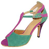 Kan spesialtilpasses-Dame-Dansesko-Latinamerikansk Salsa Standard sko-Semsket skinn-Kustomisert hæl-Flerfarget