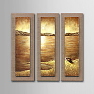 Oil Painting Decoration Abstract Seascape Hand Painted Natural linen with Stretched Framed - Set of 3
