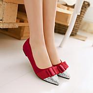 baratos Sapatos Femininos-Feminino Sapatos Courino Primavera Verão Outono Bailarina Rasteiro Gliter com Brilho Para Casual Preto Vermelho