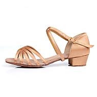 baratos Sapatilhas de Dança-Sapatos de Dança Latina / Dança de Salão Cetim Sandália Presilha Salto Baixo Personalizável Sapatos de Dança Camel / Preto / Marrom