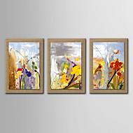 baratos -pintura a óleo decoração flores abstratas mão telas pintadas com esticada enquadrado - conjunto de 3