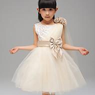 a-line kjole kjole knælængde blomsterpige kjole - bomuld ærveløs juvel hals med bånd af ydn