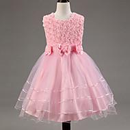Gyerekek Lány Csipke Csokor Elegáns ruházat Egyszínű Ujjatlan Rövid Ruha Fukszia