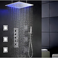 cheap Shower Faucets-Contemporary Modern Shower System Rain Shower Widespread Handshower Included LED Ceramic Valve Single Handle Four Holes Chrome, Shower