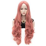 Ženy Velmi dlouhá Růžová Vlnité Umělé vlasy na stroji Paruka Halloween Karnevalová paruka paruky
