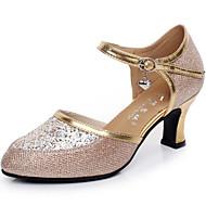 """billige Moderne sko-Dame Moderne Paljett Sandaler utendørs Spenne Kubansk hæl Sølv Gull 2 """"- 2 3/4"""" Kan ikke spesialtilpasses"""
