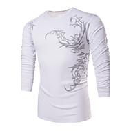 Veći konfekcijski brojevi Majica s rukavima Muškarci Jednobojni Moda Okrugli izrez Print Pamuk