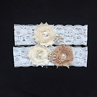 Garter Lace Flower/Imitation Pearl/Rhinestone Ivory Wedding Accessories