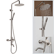 Contemporary Wall Mounted Waterfall Rain Shower Handshower Included Brass Valve Three Holes Single Handle Three Holes Nickel Brushed ,