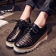 נעלי נשים - אוקספורד - דמוי עור - נוחות / מרובע / סגור - שחור / כסוף - שטח / קז'ואל - עקב וודג'