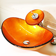 Orange Boat-shaped Tempered Glass Vessel Sink with Waterfall Faucet  Pop - Up Drain and Mounting Ring