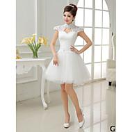 a-line princezna vysoká šperk krk v-krk krátký tyl družička šaty podle qqc svatební