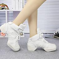 billige Dansesneakers-Herre / Dame Dansesko Lær / Syntetisk Flate Snøring Flat hæl Kan ikke spesialtilpasses Dansesko Svart / Hvit / Innendørs / Trening