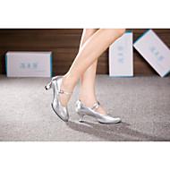 billige Moderne sko-Dame Moderne sko Lær Høye hæler / Sandaler Spenne / Snøring / Pels Kubansk hæl Kan ikke spesialtilpasses Dansesko Svart / Sølv / Gull / Innendørs / Trening / Profesjonell