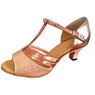 Kan spesialtilpasses-Dame-Dansesko-Latinamerikansk-Kunstlær Glimtende Glitter-Kustomisert hæl-Flerfarget