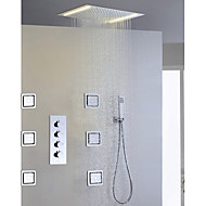 Contemporary Rain Shower Widespread Handshower Included LED Ceramic Valve Four Handles Five Holes Chrome , Shower Faucet