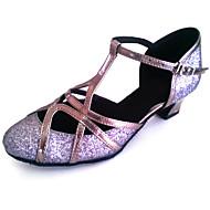 billige Moderne sko-Herre Dame Moderne Glimtende Glitter Kunstlær Sandaler Høye hæler Innendørs Trening Nybegynner Profesjonell Kustomisert hæl Grå Bronse