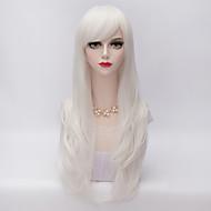 Naisten Synteettiset peruukit Koneella valmistettu Hyvin pitkä Kihara Valkoinen Sivuosa Kerroksittainen leikkaus Otsatukalla Halloween