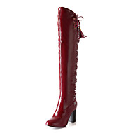 baratos Sapatos Femininos-FemininoConforto / Botas da Moda-Salto Grosso-Preto / Azul / Branco / Vinho-Courino-Ar-Livre / Escritório & Trabalho / Social / Casual
