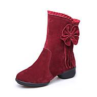 Pentru femei Pantofi Dans Catifea Cizme / Talpă Despărțită Fermoar Toc Jos NePersonalizabili Pantofi de dans Negru / Roșu