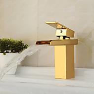 billige Rabatt Kraner-Moderne Art Deco/Retro Centersat Foss Keramisk Ventil Enkelt Håndtak Et Hull Ti-PVD, Baderom Sink Tappekran