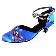 billige Moderne sko-Dame Standard sko Glimtende Glitter Sateng Sandaler Innendørs Profesjonell Nybegynner Trening Kustomisert hæl Kongeblå Kan