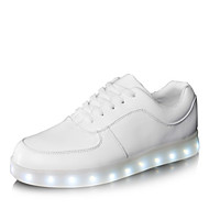 Women's Men's Shoes Leatherette Spring Summer Fall Winter Light Up Shoes Lace-up For Athletic Casual Outdoor Party & Evening White Black
