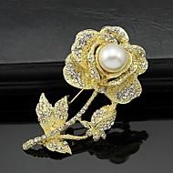hesapli -Kadın's Broşlar Kişiselleştirilmiş Çiçek Çiçek Stili Çiçekler Euramerican Moda Yapay Elmas alaşım Çiçek Hayvan Altın Gümüş Mücevher