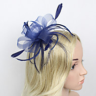cheap Headpieces-Feather Net Fascinators Headwear with Floral 1pc Wedding Special Occasion Headpiece