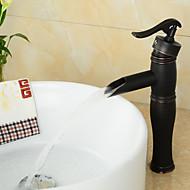 economico Serie bagno-Lavandino rubinetto del bagno - Cascata Bronzo lucidato A 3 fori Uno Una manopola Un foro