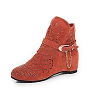 cheap -Women's Shoes Fleece Fall Comfort / Fashion Boots / Light Soles Boots Walking Shoes Flat Heel Round Toe Rhinestone / Chain Black / Orange