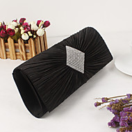 baratos Clutches & Bolsas de Noite-Mulheres Bolsas Cetim / Metal Bolsa de Festa Cristal / Strass Preto / Prata / Roxo / Sacolas de casamento / Sacolas de casamento