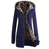 Feminino Jacket Hoodie Casual Simples Sólido Leopardo Poliéster Manga Longa Inverno