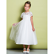 A-Line Tea Length Flower Girl Dress - Lace / Tulle Short Sleeve Jewel Neck with Lace by LAN TING BRIDE®