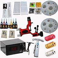billige Tatoveringssett for nybegynnere-Tattoo Machine Startkit - 1 pcs tattoo maskiner med 7 x 5 ml tatovering blekk LCD strømforsyning No case 1 x legering tatovering maskin for fôr og skyggelegging