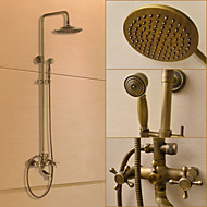 Traditional Shower System Rain Shower Handshower Included Ceramic Valve Three Holes Two Handles Three Holes Antique Brass , Shower Faucet