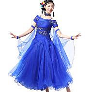 cheap Sale-Ballroom Dance Outfits Women's Performance Spandex Crepe Paillette Crystals / Rhinestones Short Sleeve Dress Bracelets Neckwear