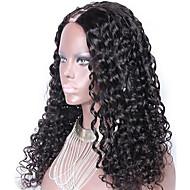 נשים פיאות תחרה משיער אנושי שיער אנושי חלק U 130% צְפִיפוּת מתולתל פאה Jet Black שחור חום כהה חום בינוני צבע טבעי קצר בינוני ארוך שיער
